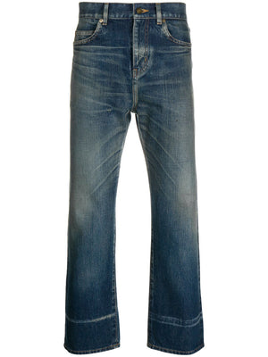 SAINT LAURENT MEN HIGH WAIST STRAIGHT JEANS