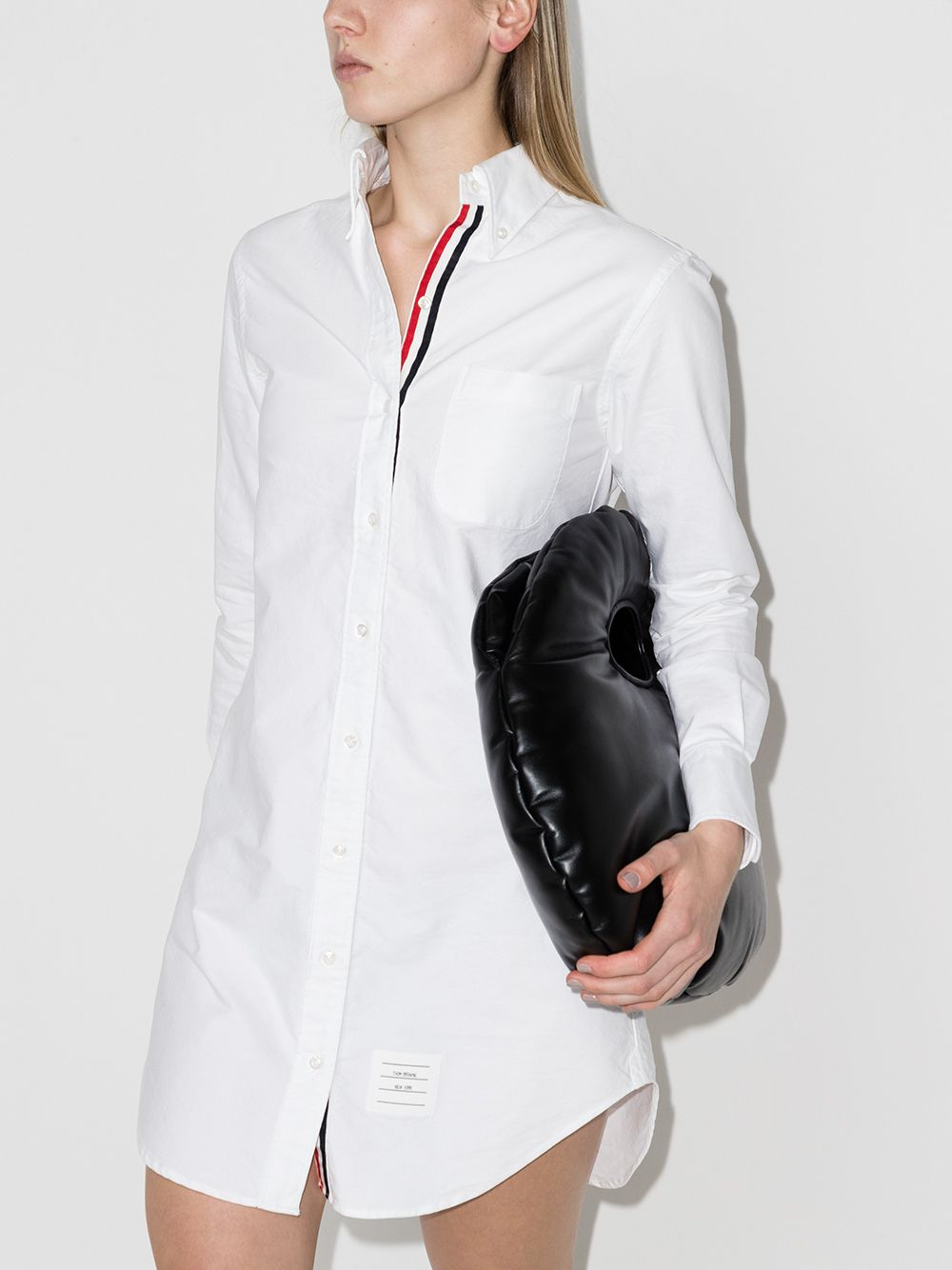 THOM BROWNE THIGH LENGTH L/S COLLAR SHIRTDRESS W/ GG PLACKET IN OXFORD