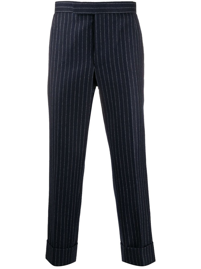 THOM BROWNE MEN CLASSIC BACKSTRAP TROUSER IN TONAL GROUND CHALK STRIPE WOOL FLANNEL