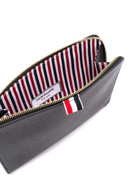 THOM BROWNE MEN GUSSET FOLIO WITH RWB WRIST STRAP IN PEBBLE GRAIN