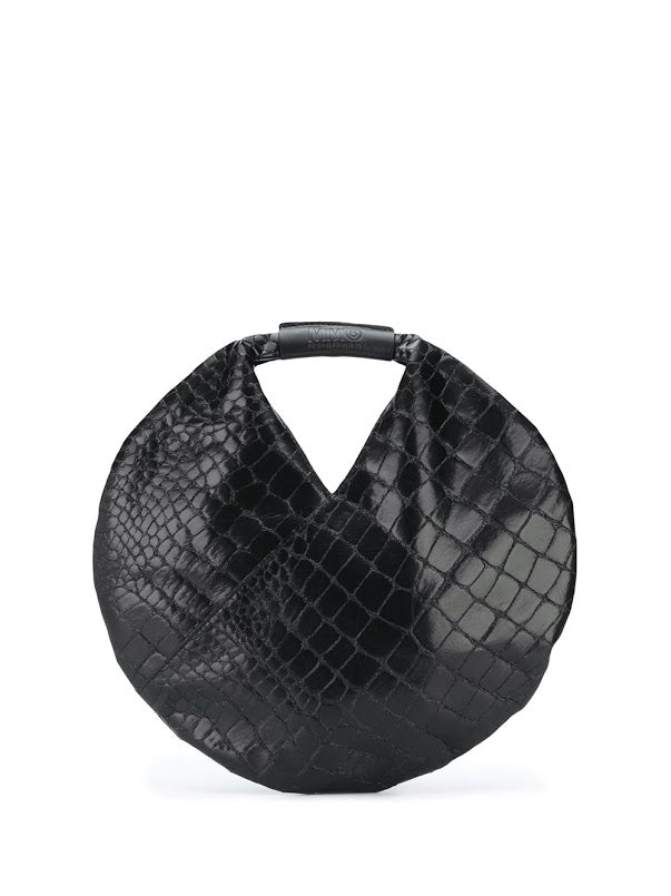 MM6 WOMEN EMBOSSED LEATHER ROUND BAG