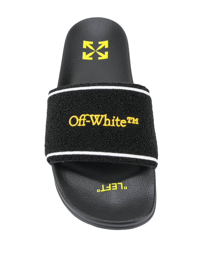 OFF-WHITE MEN TOWEL SLIDER BLACK YELLOW