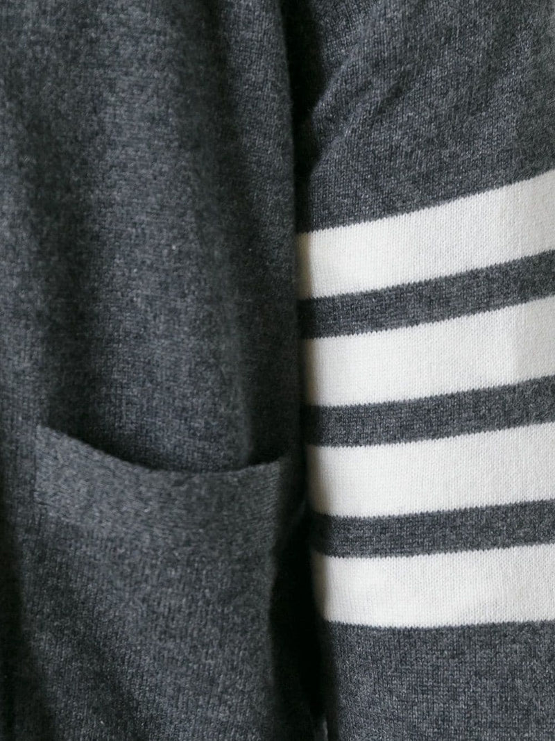 THOM BROWNE MEN CLASSIC V NECK CARDIGAN WITH WHITE 4 BAR STRIPE IN CASHMERE