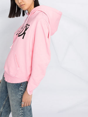 MM6 WOMEN ROUND BLACK LOGO OVERSIZED HOODIE