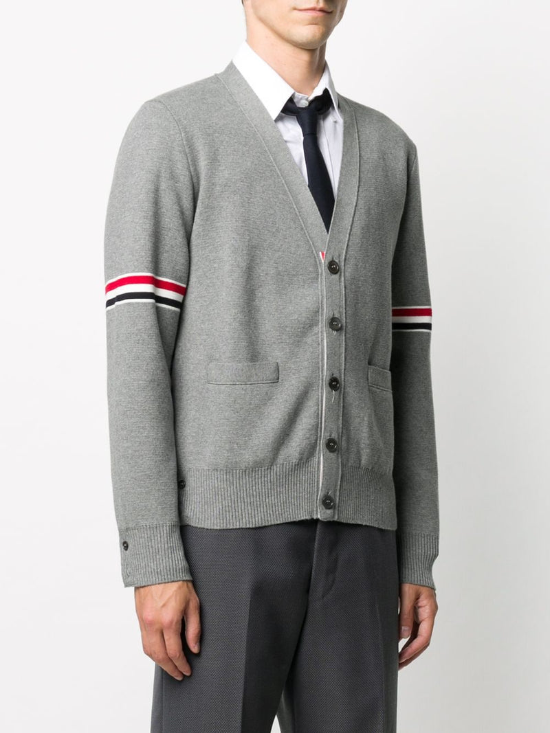 THOM BROWNE MEN MILANO STITCH V-NECK CARDIGAN W/ RWB STRIPE IN COTTON
