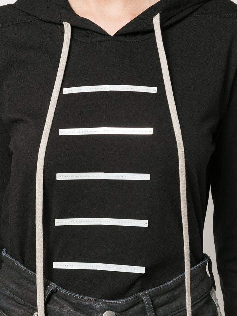 RICK OWENS WOMEN REFLECTIVE BAR HOODED TEE