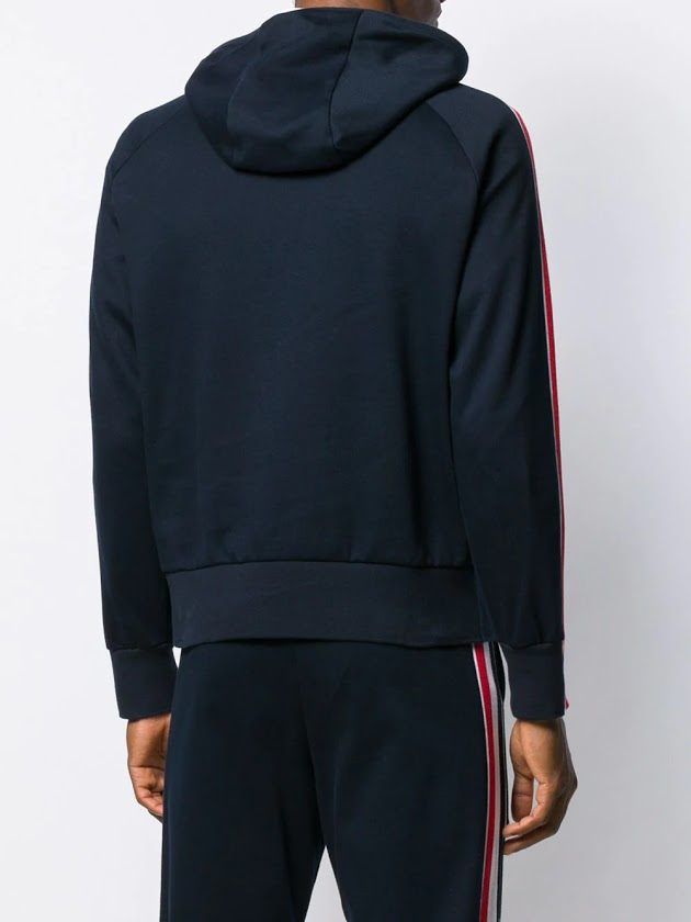 THOM BROWNE MEN HOODIE PULLOVER W/ RWB STRIPE IN INTERLOCK
