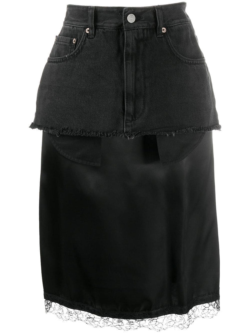 MM6 WOMEN LACE SLIP LAYER DENIM SKIRT