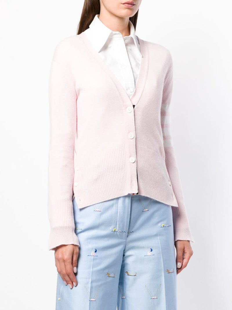 THOM BROWNE WOMEN CLASSIC V NECK CARDIGAN IN CASHMERE WITH WHITE 4 BAR SLEEVE STRIPE