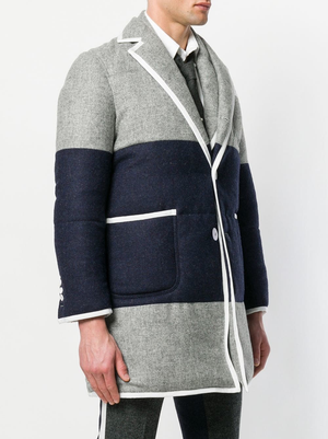 THOM BROWNE MEN BICOLOR DOWNFILL QUILTED PATCH POCKET SACK SB O/C (35) W/ GG TIPPING IN SHETLAND