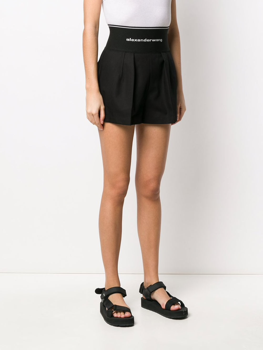 ALEXANDER WANG WOMEN AFARI SHORT WITH EXPOSED ZIPPER AND LOGO ELASTIC