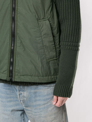 STONE ISLAND MEN KNITTED SLEEVES HOODED JACKET