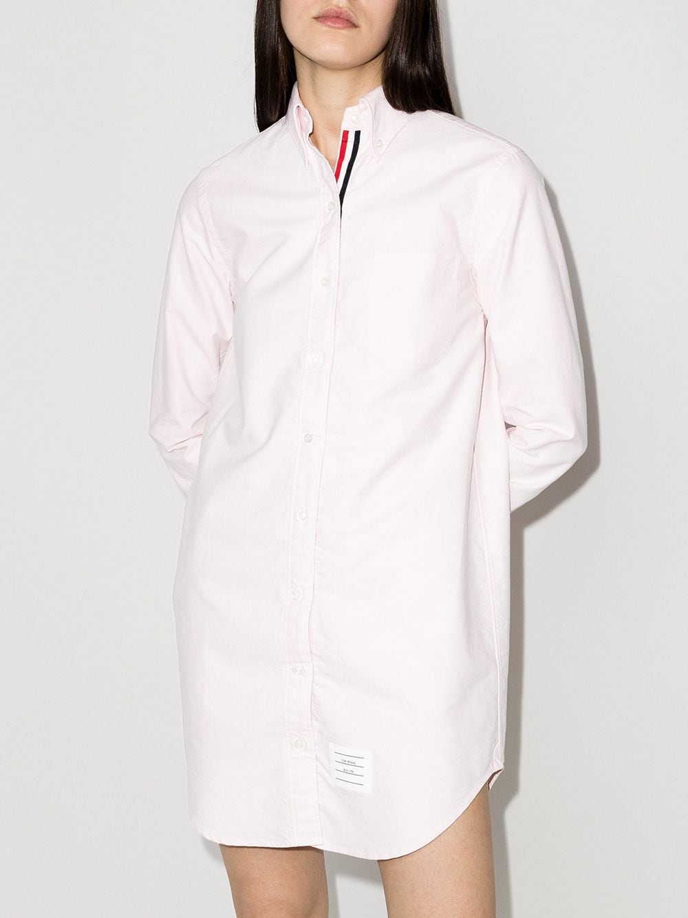 THOM BROWNE WOMEN CLASSIC LONG SLEEVE BUTTON DOWN POINT COLLAR THIGH LENGTH SHIRTDRESS W/ RWB GG PLACKET IN OXFORD