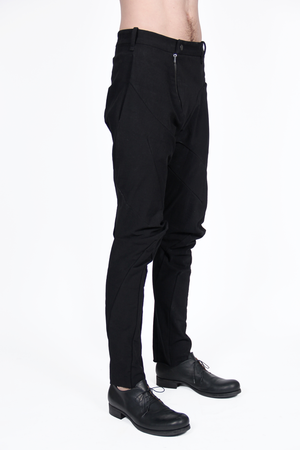 LEON EMANUEL BLANCK DISTORTION FITTED LONG PANTS IN HEAVY MILITARY CANVAS