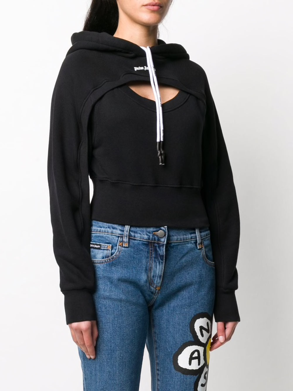 PALM ANGELS WOMEN CUT-OUT LOGO HOODY
