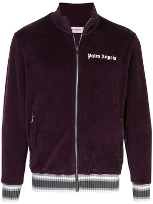 PALM ANGELS MEN  CHENILLE TRACK JACKET PURPLE WHITE