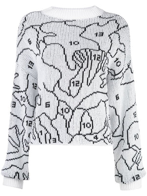 OFF WHITE WOMEN PUZZLE OUTLINE KNIT SWEATER