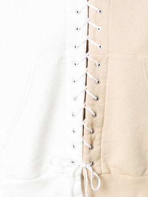 UNRAVEL WOMEN TERRY LACE UP HOODIE