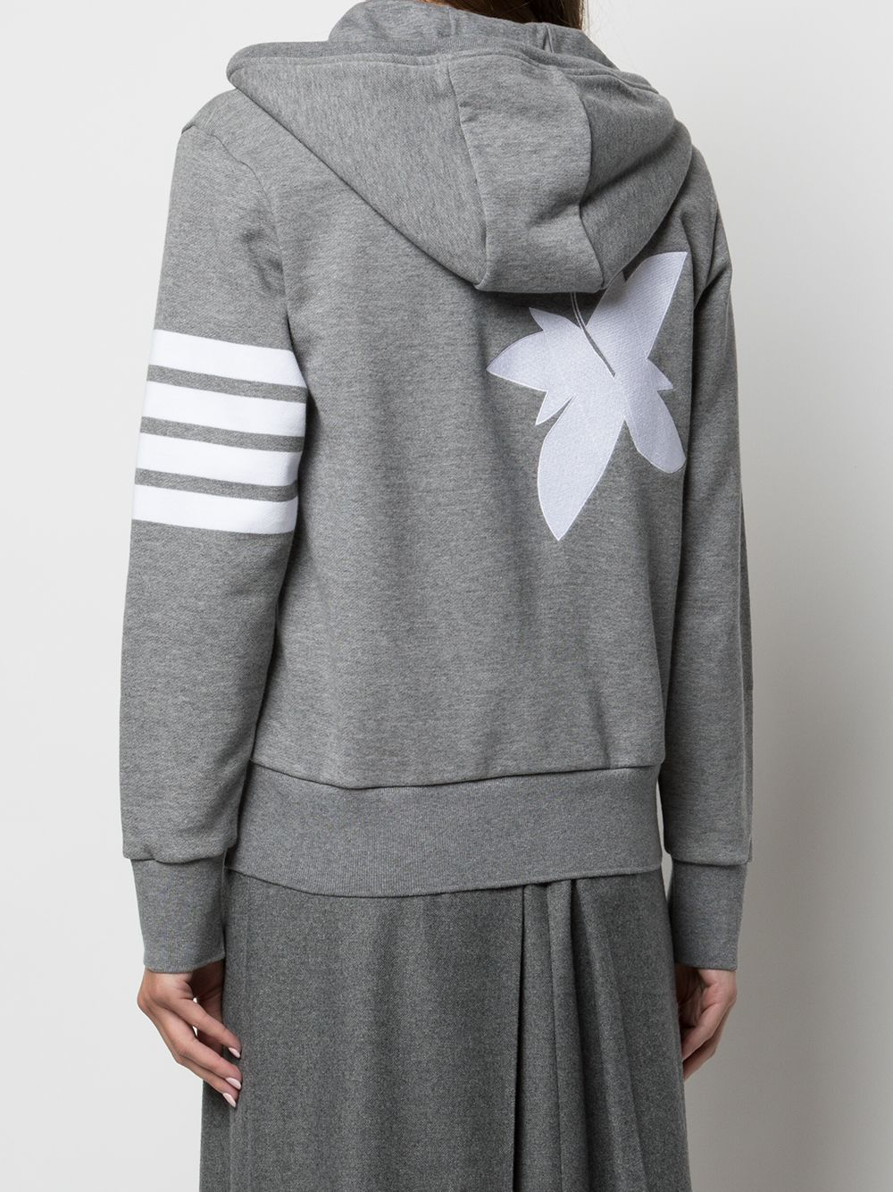 THOM BROWNE WOMEN ZIP UP HOODIE W/ 4 BAR & RWB FLORAL EMBROIDERY IN CLASSIC LOOP BACK W/ ENGINEERED 4 BAR
