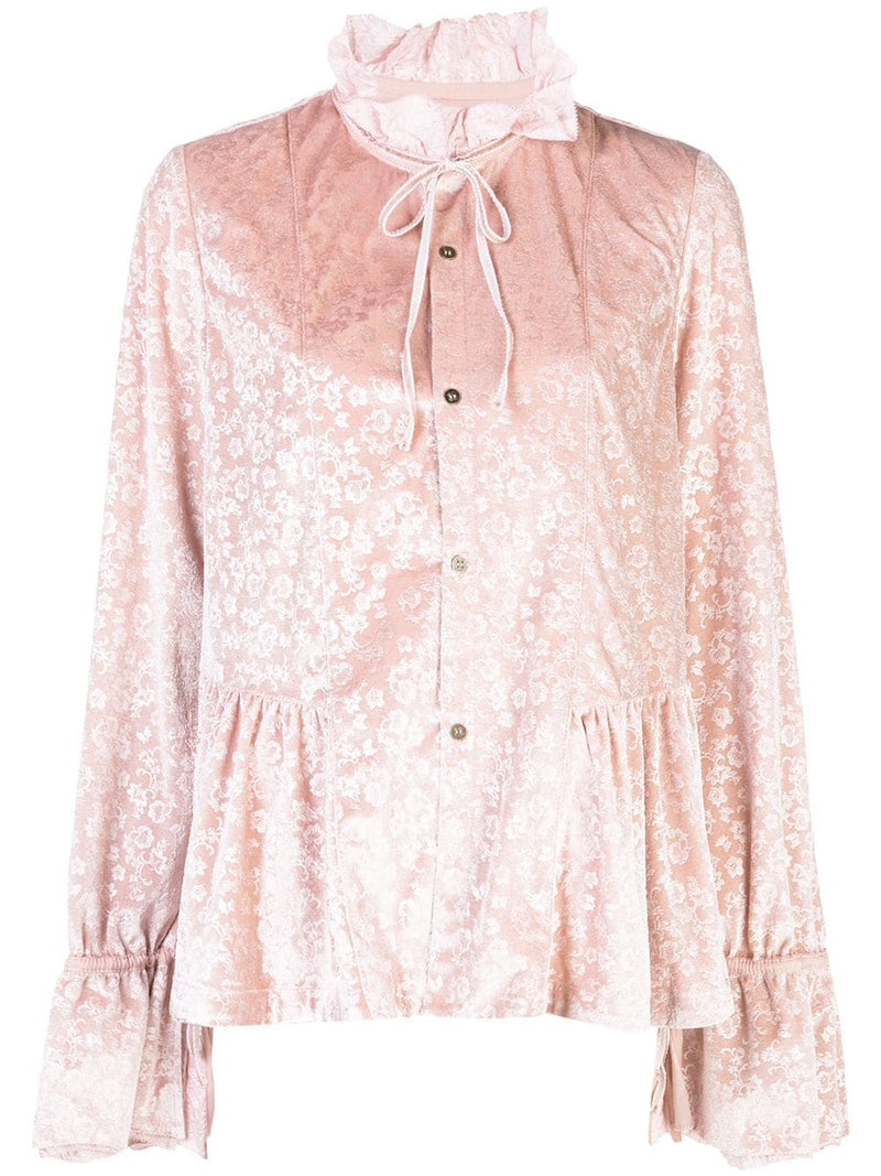 RENLI SU WOMEN FLORAL VELVET BLOUSE WITH RUFFLED COLLAR