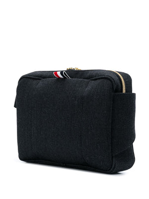 THOM BROWNE BUM BAG IN SHINY TBNY PAPER LABEL PRINTED CAVALRY TWILL + PEBBLE GRAIN