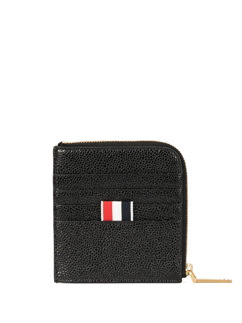 THOM BROWNE SQUARE HALF ZIP AROUND WALLET IN TBNY PAPER LABEL PRINTED PEBBLE GRAIN