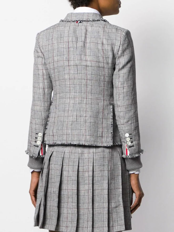 THOM BROWNE WOMEN CLASSIC SINGLE BUTTON JACKET WITH FRAY IN POW CRISP LINEN SUITING