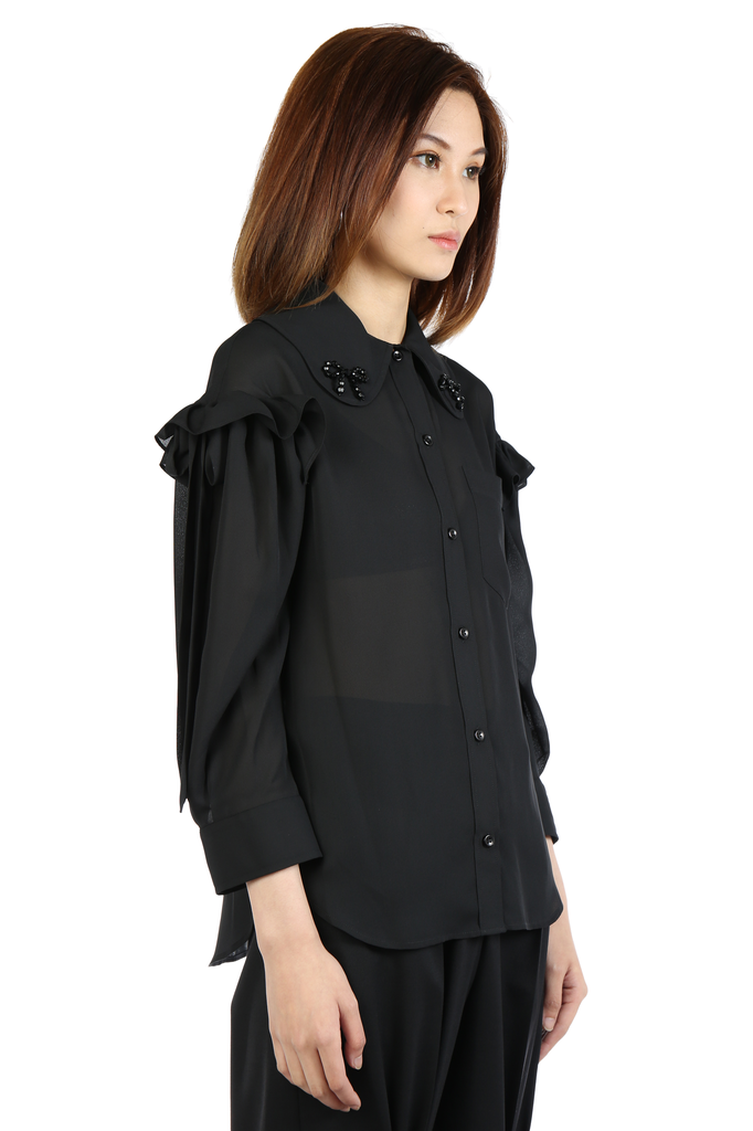 SIMONE ROCHA WOMEN BEADED RUFFLE BOW SLEEVE SHIRT
