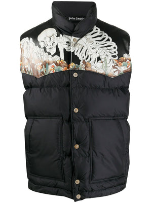 PALM ANGELS DESERT SKULL LEATHER DOWNVEST