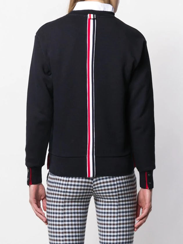 THOM BROWNE WOMEN CREW NECK SWEATSHIRT IN CLASSIC LOOPBACK WITH CB RWB STRIPE