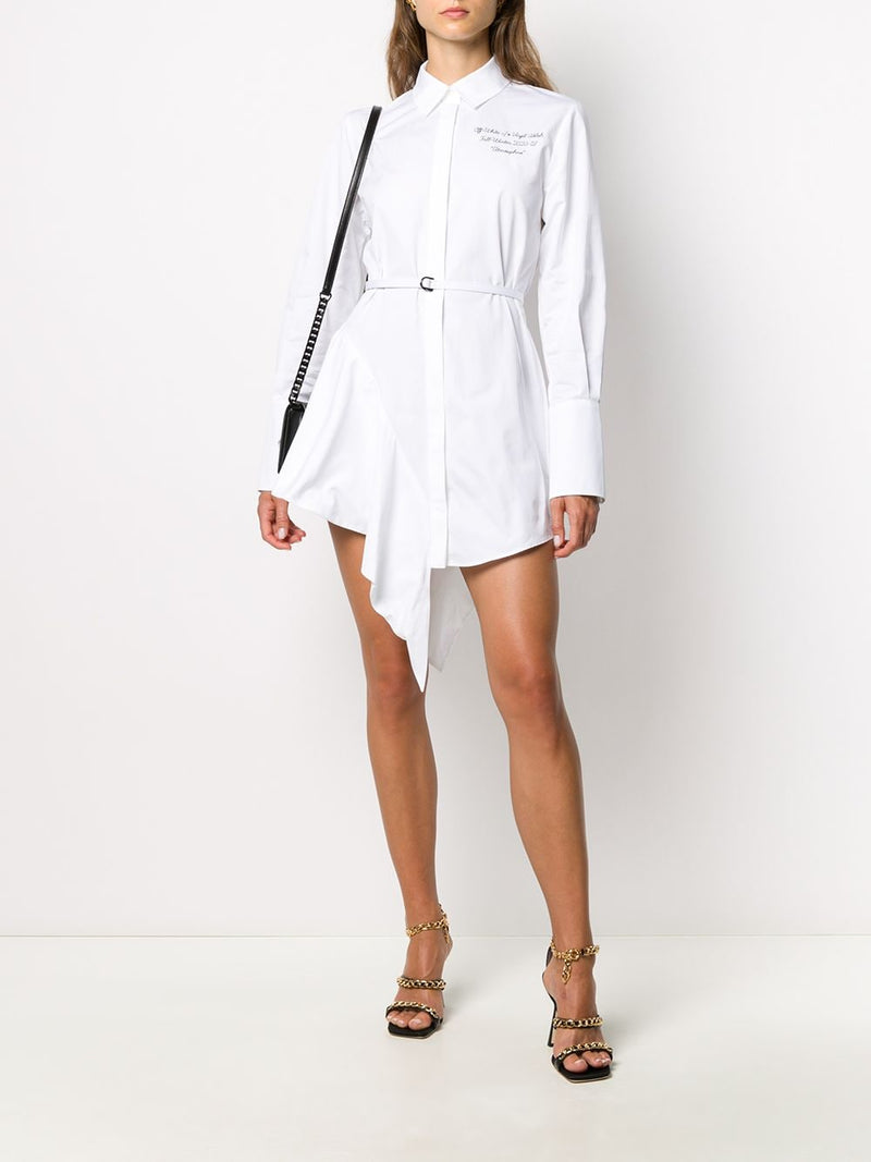 OFF-WHITE WOMEN LOGO ASYMMETRICAL DRESS