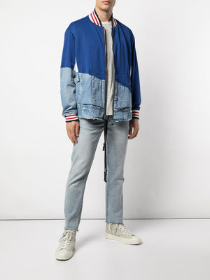 GREG LAUREN MEN 50/50 NAVY/DENIM BORG HOODIE