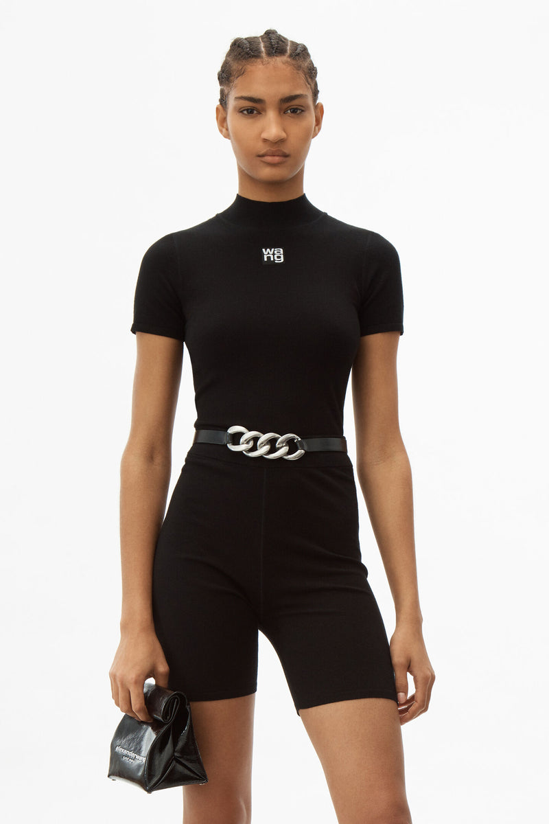 T BY ALEXANDER WANG WOMEN FOUNDATION BODYCON S/L MOCK NECK TOP