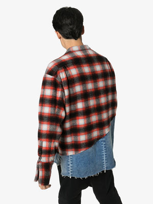 GREG LAUREN MEN 50/50 RED & BLACK PLAID / DENIM BOXY STUDIO SHIRT