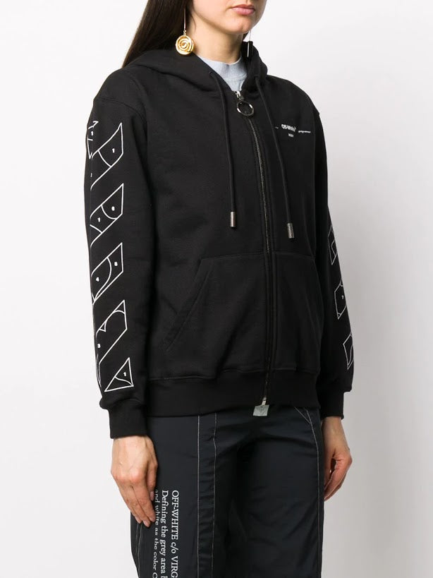 OFF WHITE WOMEN PUZZLE ARROW ZIPPED HOODIE