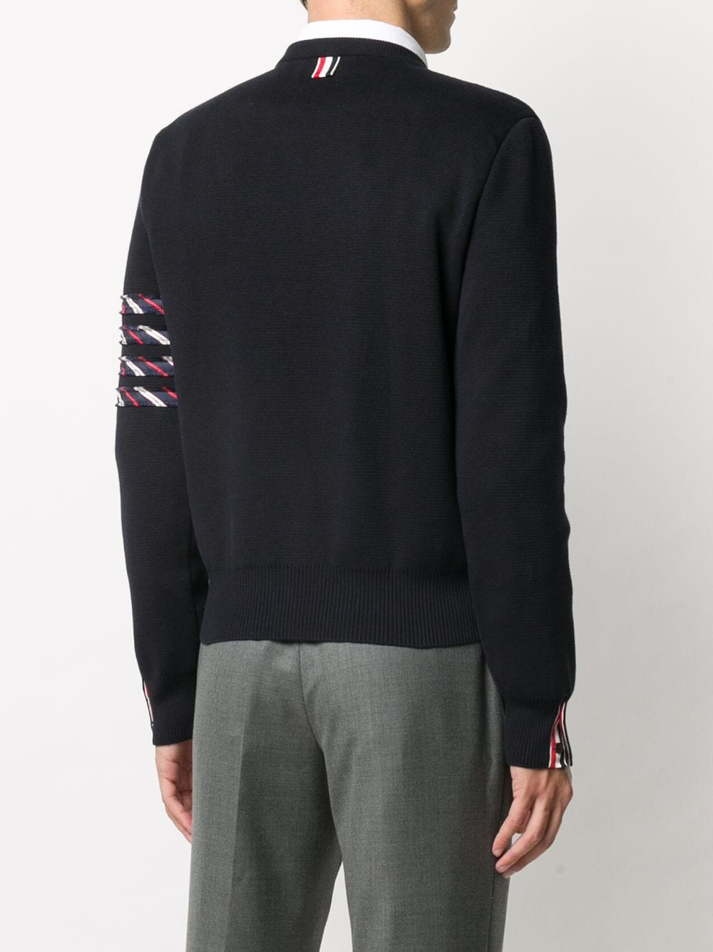 THOM BROWNE MILANO STITCH CREW NECK PULLOVER IN COTTON W/SILK 4 BAR STRIPE