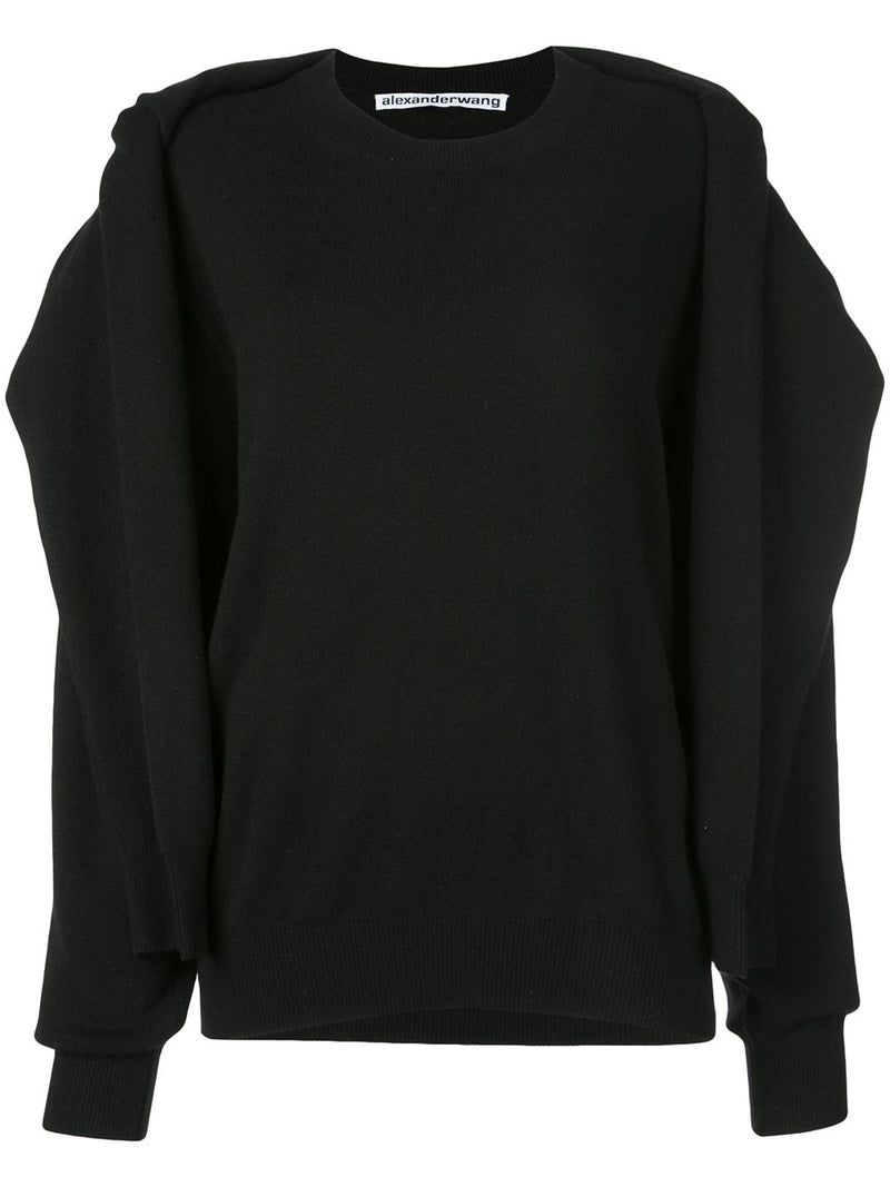 ALEXANDER WANG WOMEN CREWNECK SHOULDER TIED PULLOVER