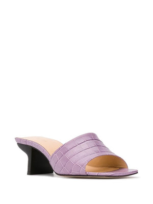 BY FAR WOMEN LILY LILAC CROCO EMBOSSED LEATHER MULES