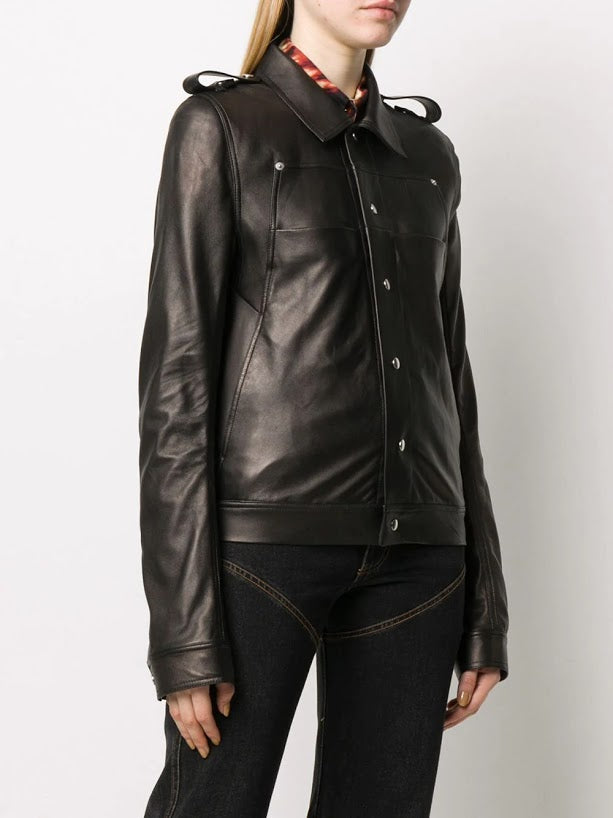RICK OWENS WOMEN BABEL LEATHER JACKET
