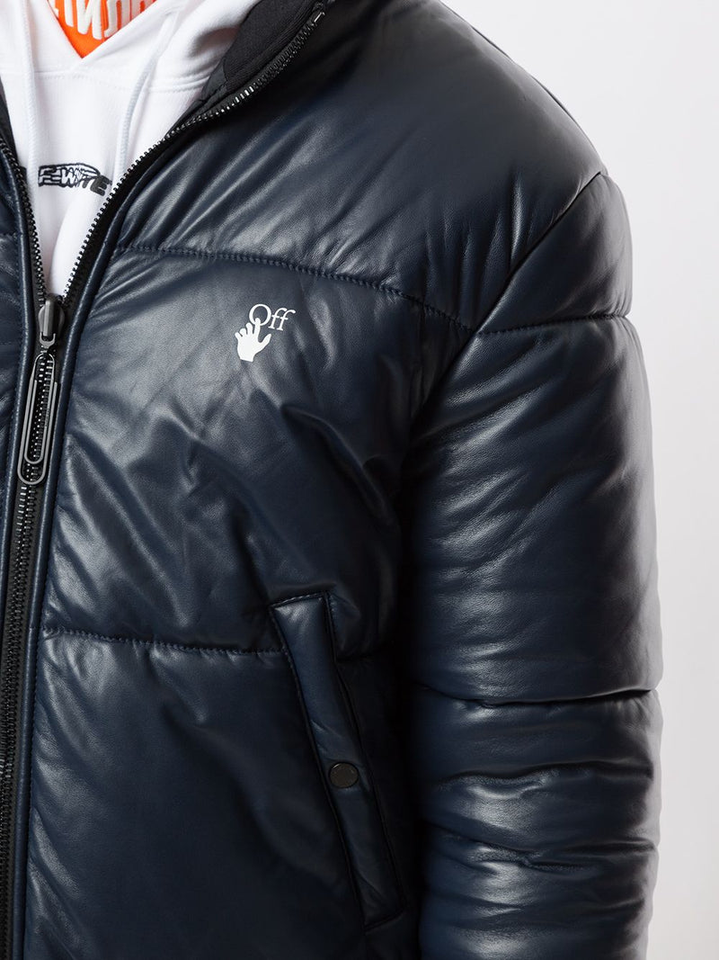 OFF-WHITE MEN OW REVERSIBLE LEATHER PUFFER