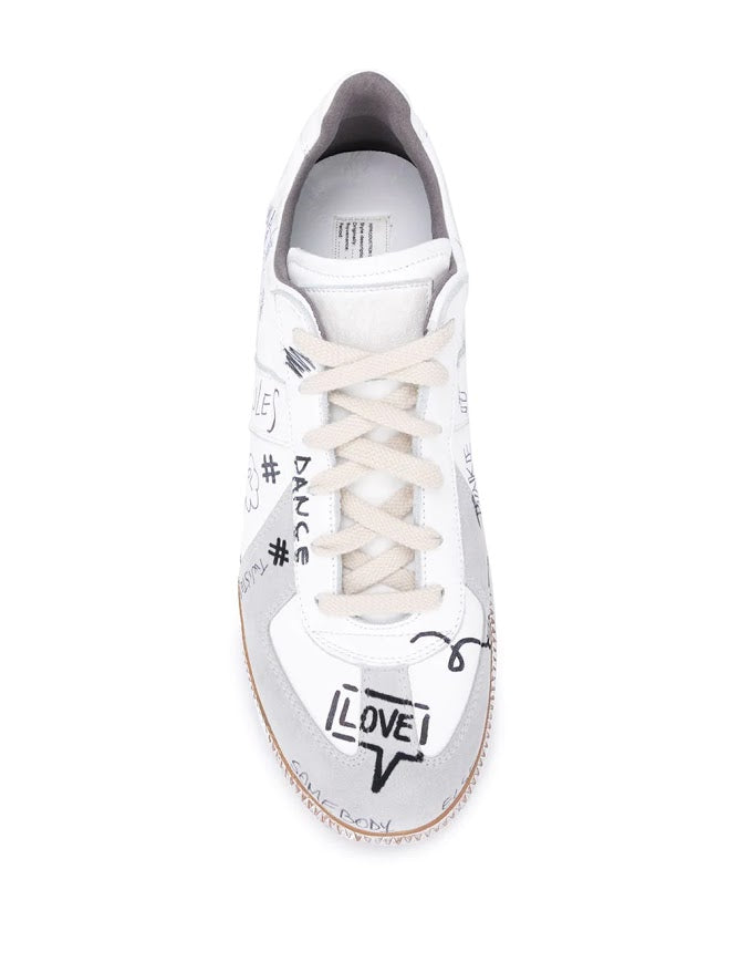 MAISON MARGIELA MEN HAND-PAINTED GRAFFITI REPLICA SNEAKERS