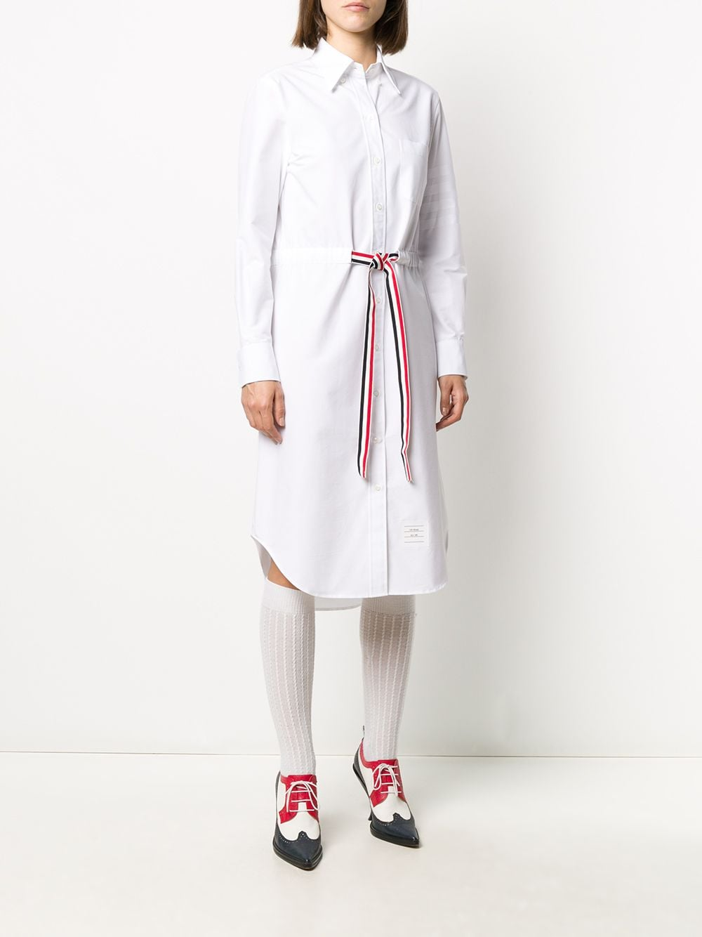 THOM BROWNE WOMEN LONG SLEEVE BELOW THE KNEE SHIRTDRESS W/ TONAL GROSGRAIN BELT IN OXFORD SATIN WEAVE ENGINEERED 4 BAR STRIPE