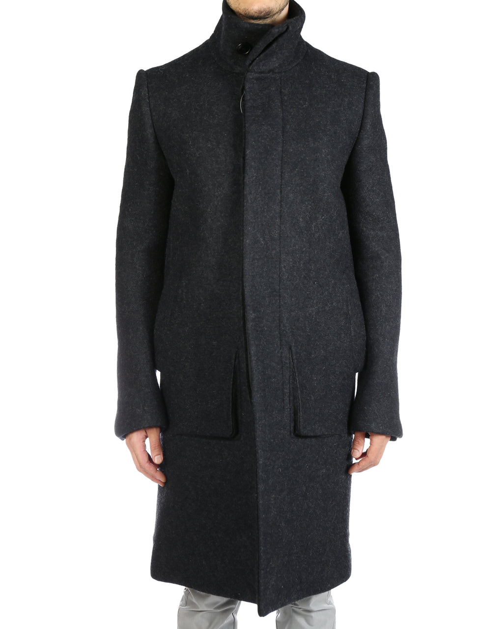 DEEPTI MEN LONG COAT WITH BUTTON PLEAT