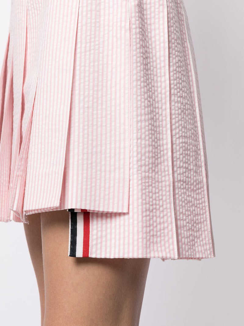 THOM BROWNE WOMEN MINI DROPPED BACK PLEATED SKIRT IN SEERSUCKER