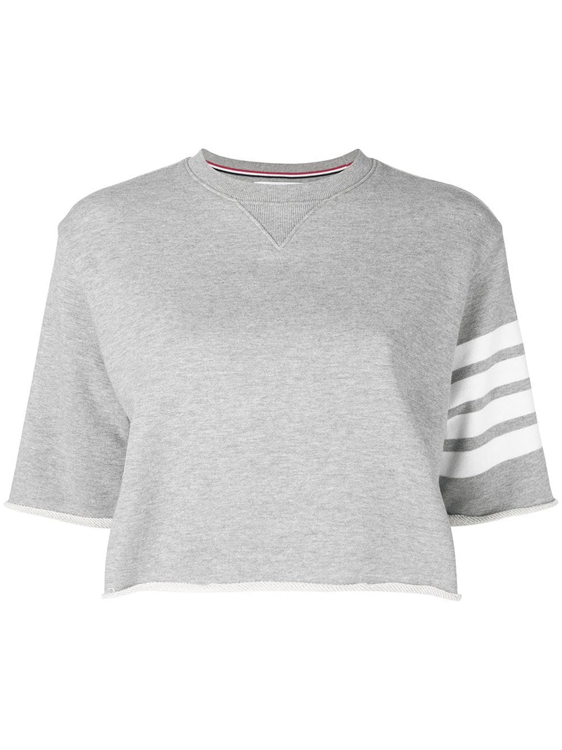 THOM BROWNE BOXY CUT OFF TEE IN CLASSIC LOOP BACK W/ ENGINEERED 4 BAR