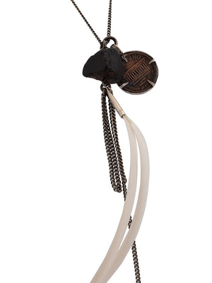 ANN DEMEULEMEESTER WOMEN FEATHER NECKLACE WITH COIN