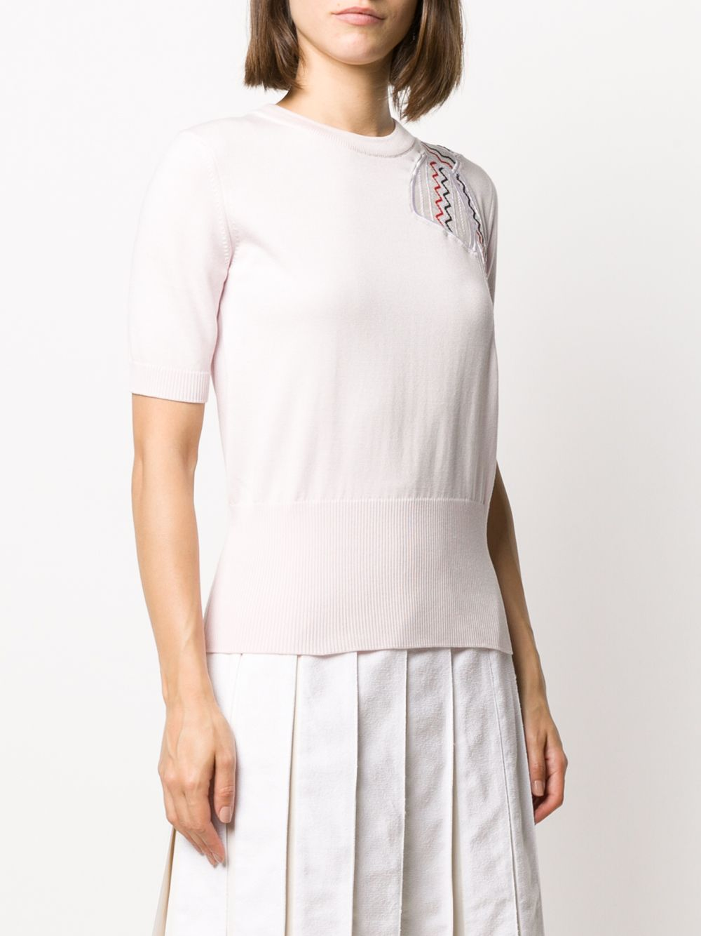 THOM BROWNE WOMEN TROMPE L'OEIL BOW EMBROIDERY APPLIQUE RELAXED FIT CREW NECK SS TEE IN SILK COTTON