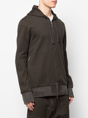 TAICHIMURAKAMI MEN COTTON COMBINED WEAVE KNIT SWEAT PARKA