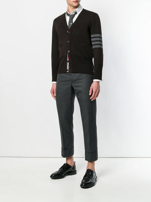 THOM BROWNE MEN MILANO STITCH V NECK CARDIGAN W/ 4 BAR STRIPE IN FINE MERINO WOOL MKC160A-00014 205 FWBI