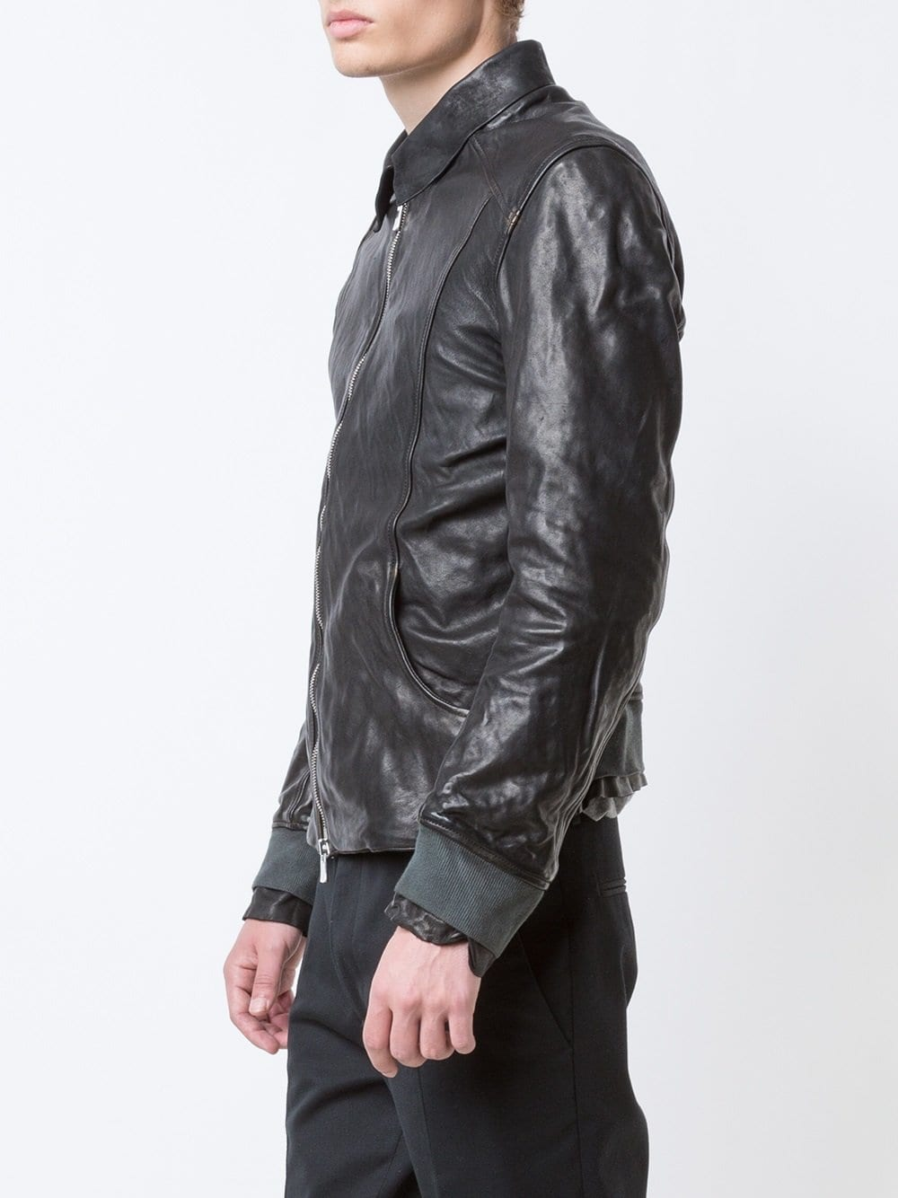 GUIDI X LAYER-0 AVM MEN AVIATOR LEATHER JACKET BLKT